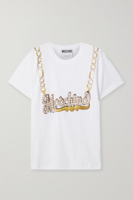 Moschino Printed Cotton-jersey T-shirt - White