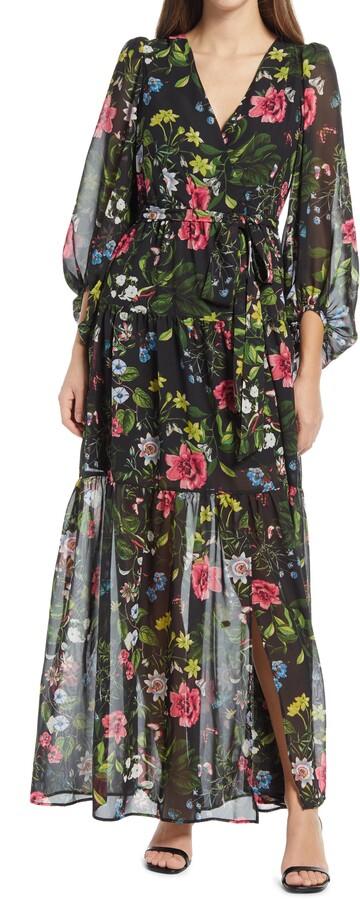 Eliza J Surplice Backless Maxi Dress