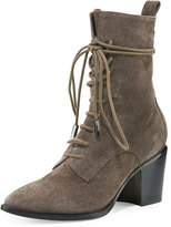 Sigerson Morrison Duran Lace-Up Block-Heel Boot, Anthracite