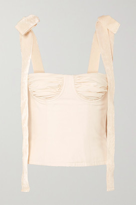 Orseund Iris Velvet-trimmed Cotton-canvas Bustier Top - Cream