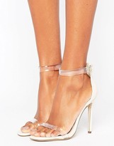 Missguided Clear Strap Barely There Heeled Sandal
