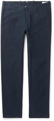 NN07 Navy Steven Slim-Fit Tapered Cotton-Blend Twill Chinos