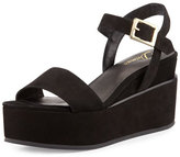 Delman Angie Nubuck Wedge Sandal, Black