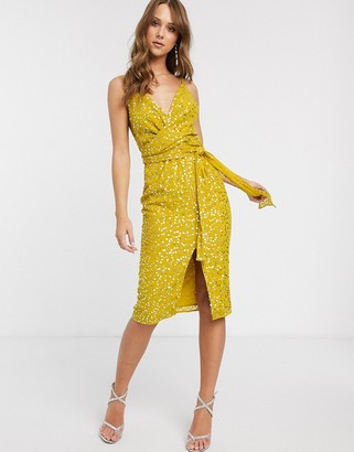Asos Design DESIGN cami midi dress with wrap waist in scatter sequin-Yellow