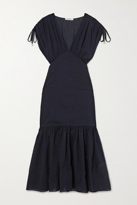 Marysia Swim Monterey Gathered Cotton-seersucker Midi Dress - Indigo