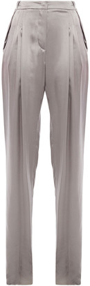 Giorgio Armani Pleated Mulberry Silk-satin Tapered Pants