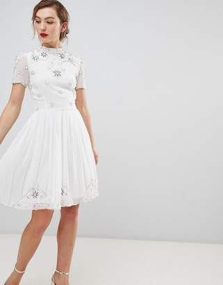 Frock and Frill Frock & Frill High Neck Skarer Dress With Embellished Detail