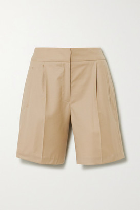 LOULOU STUDIO Bermuda Pleated Wool-twill Shorts - Beige