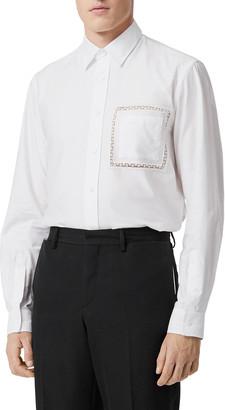 Burberry Men's Oxford Sport Shirt w/ Lace Pocket