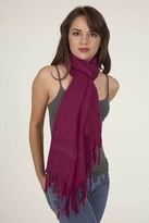 LoveQuotes Scarves Love Quotes Linen Knotted Fringe Scarf in Framboise