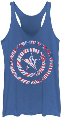 Licensed Character Juniors' Marvel Captain America Tie Dye Shield Symbol Tank Top