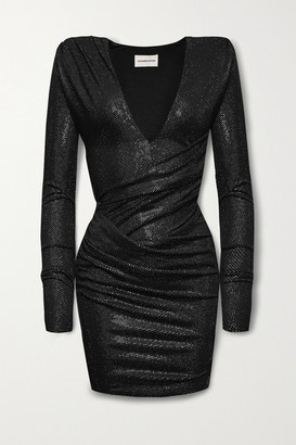 Alexandre Vauthier Ruched Crystal-embellished Stretch-jersey Mini Dress - Black