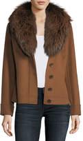 Neiman Marcus Luxury Double-Face Cashmere Short Jacket w/ Fox Fur Collar