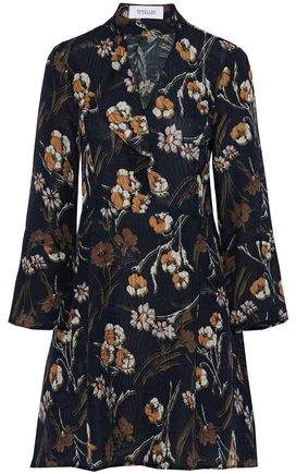 Derek Lam 10 Crosby Ruffled Floral-Print Matelassé Silk-Blend Mini Dress