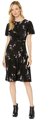 Lauren Ralph Lauren Printed Matte Jersey Vemalyn Short Sleeve Day Dress (Black/Purple/Multi) Women's Clothing