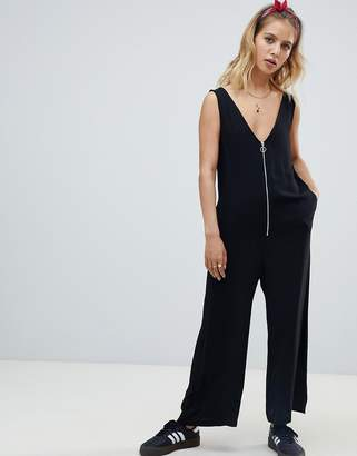 Nobody's Child zip front relaxed jumpsuit-Black