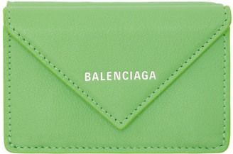Balenciaga Green Mini Envelope Papier Wallet