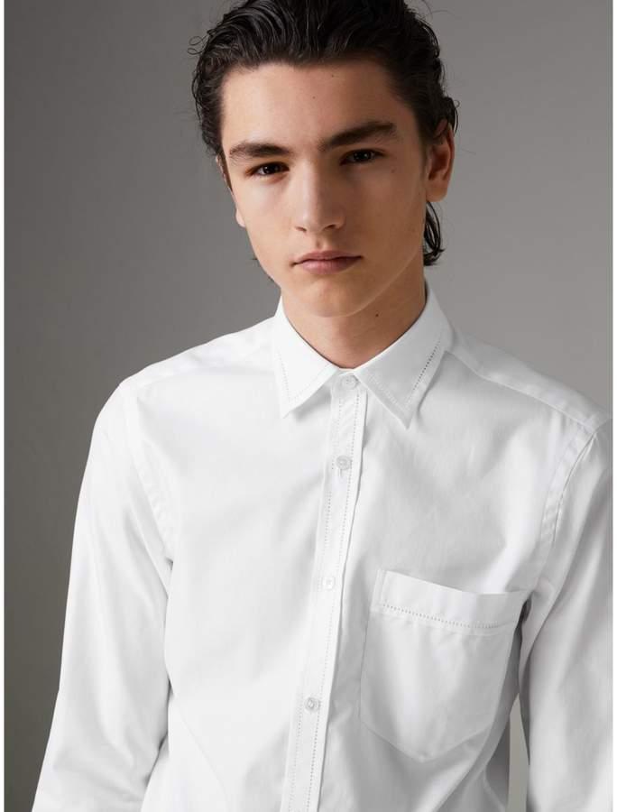 Burberry Open-stitch Detail Cotton Oxford Shirt
