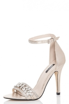 Quiz Gold Jewel Embellished Barely There Heels