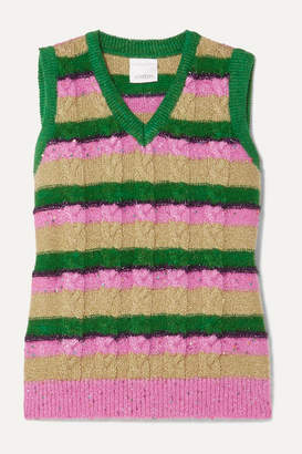Ashish Metallic Striped Cable-knit Vest - Beige