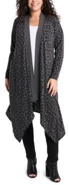 1 STATE Women's Plus Size Drape Front Long Cardigan