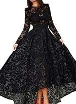 Angela Women's Long Sleeves High Low Lace Evening Dresses Prom Party Gowns