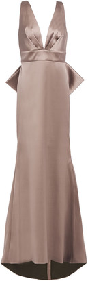Sachin + Babi Bow-embellished Pleated Satin-twill Gown