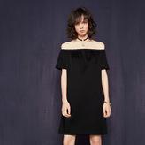 Maje Satin off-the-shoulder dress