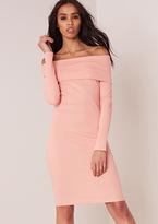 Missy Empire Bronwyn Pink Rib Off the Shoulder Dress