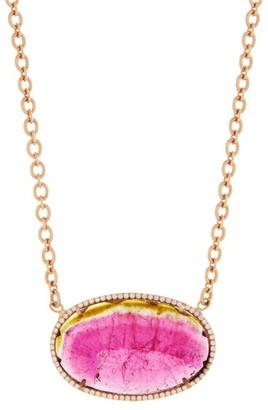 Irene Neuwirth Watermelon Tourmaline & Diamond Necklace - Womens - Pink
