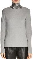 Maje Matias Studded Turtleneck Sweater