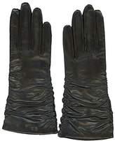 Grandoe Women's PARIS Ruched Sheepskin Leather Glove Cashmere Blend 3 btn length