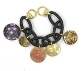 Gucci Flora St. Tropez Ebony Wood 18 Karat Yellow Gold Charm Bracelet