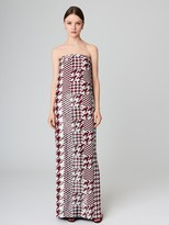 Oscar de la Renta Houndstooth Embroidered Silk-Taffeta Gown