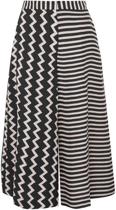 Stella McCartney Jaycee Paneled Striped Silk-jacquard Culottes