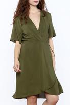 Lush Olive Wrap Dress