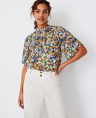 Ann Taylor Floral Cutout Yoke Top