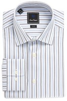 David Donahue Men's Trim Fit Stripe Dress Shirt