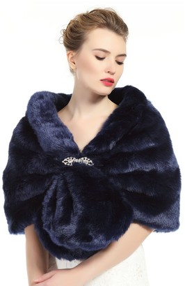 BEAUTELICATE Faux Fur Shawl Wrap for Women Bridal Wedding Shrug Stole Size M L Multi Colors