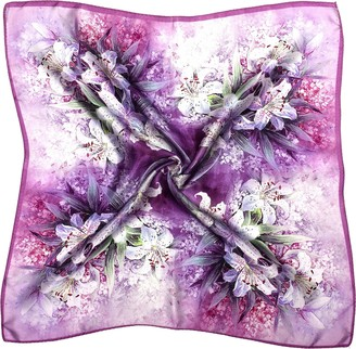 Bees Knees Fashion Purple Lilac White Flowers Printed Thick Silk Small Square Scarf