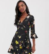 Influence Tall floral wrap mini dress