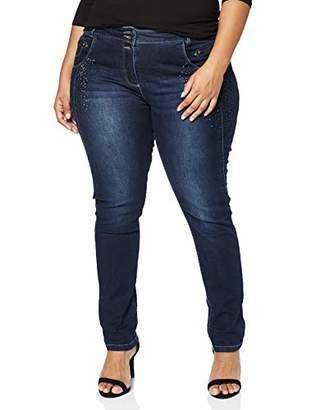 Ulla Popken Women's Jeans mit Ziernähten und Glitzerelementen Skinny,W35/L