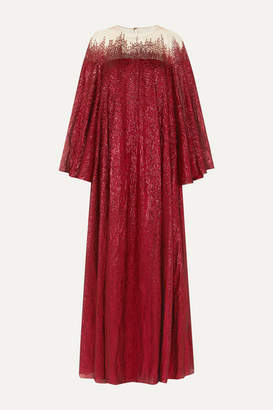 Oscar de la Renta Embellished Silk-blend Tulle And Lame Gown - Red