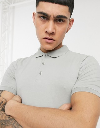 ASOS DESIGN organic muscle fit jersey polo in grey
