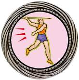 GiftJewelryShop Ancient Style Silver Plate Olympics Athletics Men's Javelin throw Winding Pattern Pins Brooch