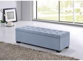 Baxton Studio Alcmene Modern and Contemporary Light Blue Fabric Upholstered Grid-Tufting Storage Ottoman Bench