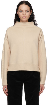 Helmut Lang Beige Wool and Cashmere Stitch Turtleneck