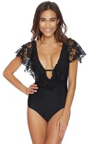 Luxe by Lisa Vogel State Of Lace Cap Sleeve Maillot