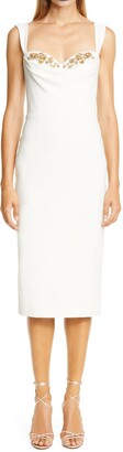 Marchesa Notte Crystal Embellished Cowl Neck Cocktail Dress