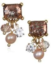 Badgley Mischka 6-7MM Pink Pearl and Crystal Dangle Earrings